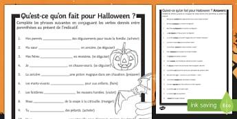 Halloween Present Tense Gap Fill Activity Sheet French - festivals, celebrations, activities, verbs, tenses, grammar, conjugate, conjugation