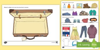 Prepara la valigia per le vacanze Attività - esercizio, ritaglia, incolla, valigia, estate, vacanze, italiano, italian, materiale, scolastico