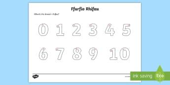 Rhifau Taflen Trasio, Cyfri ac Adio - Taflen Ffurfio Rhifau, number formation, trasio, trace, cofnodi, writing, numbers, rhifau.,Welsh