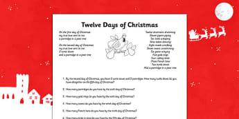Twelve Days of Christmas Maths Activity Sheet - twelve days of christmas, maths, activities, christmas, sheet, worksheet