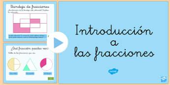 Introducción a las fracciones Presentación - fracciones, introducción a las fracciones, fraccionar,Spanish