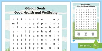 Global Goals Health and Wellbeing Word Search - Skim, scan, keyword, wordsearch, global issues, global citizenship, Scottish, poverty