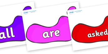 Tricky Words on Footprints - Tricky words, DfES Letters and Sounds, Letters and sounds, display, words