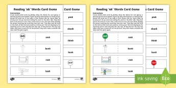 Reading 'nk' Words Card Game - literacy, early level, phonics, jolly phonics, read write inc, colourful consonants, letters and sou