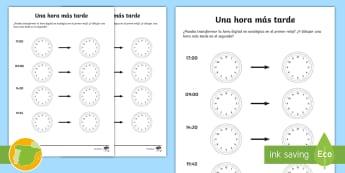 Ficha de actividad: Una hora más tarde - horas, minutos, segundos, minutero, secundero, reloj, manecillas, dibujar, números, aprendizaje, di