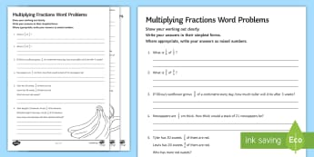Multiplying Fractions Word Problems Activity Sheet - worksheet, Improper Simplify Simplest Numerator Denominator Multiplication Multiply Whole Number Que