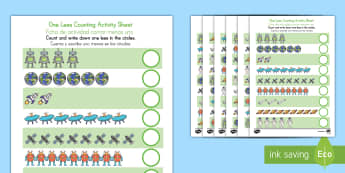Space Themed One Less Counting Worksheet US English/Spanish (Latin) US English/Spanish (Latin)  - Space Themed One Less Counting Worksheet -maths, numeracy, elemnetary school, counting, numbers, sub