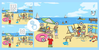 Sun Safety Picture Hotspots - EYFS, Early Years, KS1, Key Stage 1, summer, sun, sun safety, sun cream, sunglasses, beach, Twinkl Go, twinkl go, TwinklGo, twinklgo