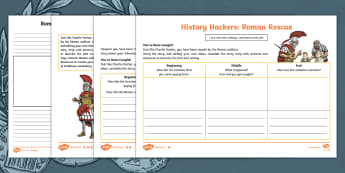 History Hackers: Roman Rescue Character, Setting and Plot Differentiated Writing Activity Sheet - Character, Setting, Plot, writing, atmosphere, dialogue, adventure, Roman, soldier, time travel