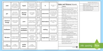 Edexcel States of Matter and Mixtures Loop Cards  - physical change, filtration, sedimentation, chlorination, sublimation, gcse, exam preparation, revis