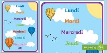 Posters d'affichage : Les jours de la semaine - décoration, apprendre, le temps, se repérer, les jours et les mois,French