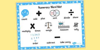 Numeracy Instructions Word Mat - numeracy, word mat, instructions