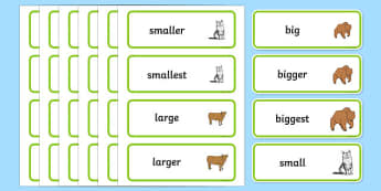 Size Word Cards - Size, measuring, shapes spaces and measures, ordering, large, larger, largest, small, smaller, smallest, sizes, numeracy, measurement, mathematical language, sizes