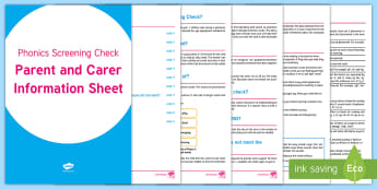 Phonics Screening Check Parent and Carer Information Sheet - Phonics Screening Check Parent and Carer Information Sheet, phonics guide, year 1, guidance, check,
