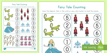 Fairy Tale Counting Activity Sheet - Counting Skills, Number Recognition, Dot Marker, Fairy Tales, Math, worksheet