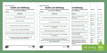 CfE Health and Wellbeing (Mental and Emotional Wellbeing) Early Level Child Friendly Tracking