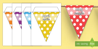 Months of the Year Spotty Display Bunting English/Italian - months, moths, year, time, birthdays, EAL, ESL