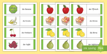 Different Fruits Card Game German - German Games, German cards, German fruit, German food, German activities. ,Scottish-translation