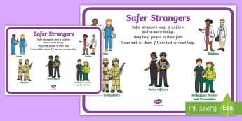Safer Strangers Display Poster - stranger danger, safer strangers, safety, autism, ASD, SEN, people who help us