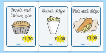 Fish And Chip Shop Role Play Signs - Fish and Chip, shop, signs, poster, banner, sign, fast food, chip butty, food, prices, offers, eating, English, haddock, cod, mushy peas