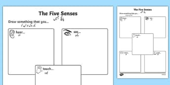 The Five Senses Drawing Activity Sheet Urdu Translation - urdu, Ourselves, me, myself, senses, 5, five, hear, hearing, see, sight, touch, feeling, taste, tasting, smell, smelling, scent, eyfs, early years, ks1, science, my body, all about me, workshe