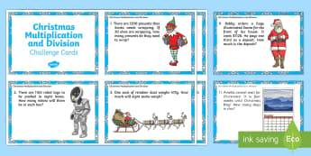 Christmas Multiplication and Division Challenge Cards  - maths, mathematics, numeracy, PowerPoint, problem solving, multiplication, times, division, sharing,