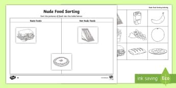 Nude Food Day Sorting Differentiated Activity Sheet - Healthy food, Healthy choices, Healthy lifestyle, personal health, Unhealthy food, worksheet