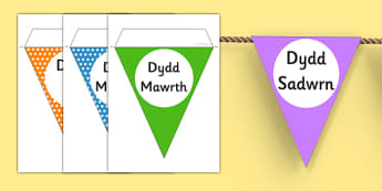 Days of the Week Bunting Welsh - displays, display, banners