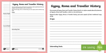 KS2 Gypsy, Roma or Traveller Fact File Worksheet / Activity Sheet -  KS2 GRTHM, Gypsy, Roma, Traveller History Month, Gypsy Roma Traveller fact file, research, record i