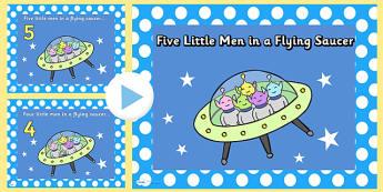 5 Little Men in a Flying Saucer PowerPoint - 5 little men in a flying saucer, 5 little men powerpoint, sing along powerpoint, nursery rhyme