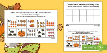 Autumn Themed Cut and Stick Number Ordering Sheets 1-10 Activity English/German - EAL, German, Autumn Themed Cut and Stick Number Ordering Sheets 1-10 - autumn, cut, stick, number, o