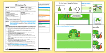 EYFS Feeding the Caterpillar Adult Input Plan to Support Teaching on The Very Hungry Caterpillar - Eric Carle, caterpillar, counting, numbers to 6