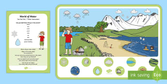 World of Water Can You Find...? Poster and Prompt Card Pack - EYFS Water, water cycle, rain, rivers, sea, oceans, ice, pond, drinking, kettle