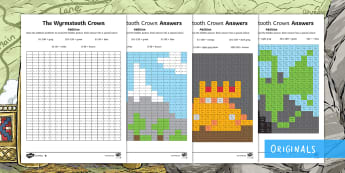The Wyrmstooth Crown Addition Mosaic Differentiated Activity Sheet - 1, 3, digits, add, subtract, long, column, worksheet