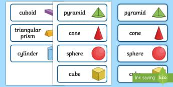 3D Shape Word Cards - 3D Shape names, Shape Flashcards, Shape Pictures, Shape Words, 3D flashcards, numeracy, geometry, shapes, 3d, flash cards