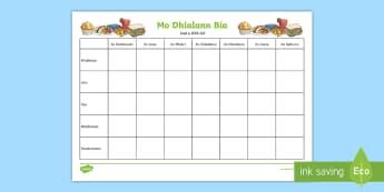 Dialann Bia - Food Diary Activity Sheet Gaeilge - Bia, Dialann, Seachtain, bricfeasta, dinnéar, tae ,Irish, worksheet