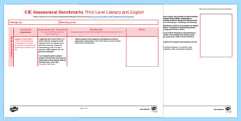 CfE Benchmarks Third Level Literacy and English Assessment Tracker-Scottish