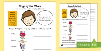 Days of the Week Activity Sheet - Days of the week, before, after, how long, word problem, ,Australia