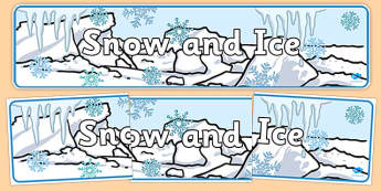 snow and Ice Display Banner -  Winter, display banner, polar, arctic, display, winter words, Word card, flashcard, snowflake, snow, winter, frost, cold, ice, hat, gloves, display words