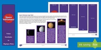 Space Volcanoes Layer Book - Olympus Mons, Io, Triton, Volcano, Geysers, Enceladus, worksheet
