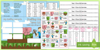 Year 4 Block Adventurer Themed Spelling Menu Pack - spag, gps, home learning, weekly, lists, test,