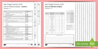 AQA Chemistry (Trilogy) Unit 4.8 Chemical Analysis Test - KS4 Assessment, Test, gcse, chemistry, chemical analysis, analysis, chemical, reaction, chromatograp