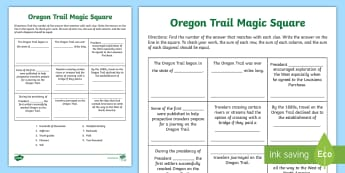 Oregon Trail Magic Square Activity Sheet - worksheet, Grade 4 social Studies, Grade 5 Social Studies, Grade 3 Social Studies, U.S. History, set