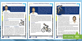 KS2 Around the World in 80 Days Information Differentiated Fact File - The World Challenge, mark beaumont, around the world, 80 days, cycling, adventure