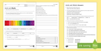 KS3 Acids and Alkalis Homework Activity Sheet, worksheet