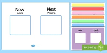 Now, Next Visual Aid Romanian/English - Now Next Visual Aid - now and next visual aid, now and next visual timetable, now and next display,