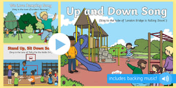 Up and Down Songs and Rhymes PowerPoints Pack - direction, opposites, kites, balloons, hot air balloons, towers, bricks, higher, lower, poistion