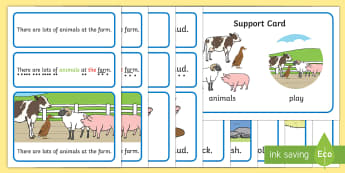 At the Farm Simple Sentence Cards - At the Farm, Sentences, sentence cards, reading, phonics, eyfs, literacy