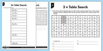 3 x Table Search - 3 x table, 3s, multiply by 3, divide by 3, number search, maths search, fact search, differentiated activity, times table, times tables
