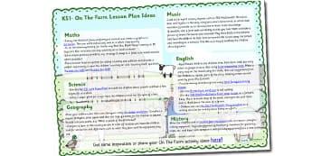Farm Lesson Plan Ideas KS1 - farm, on the farm, farm lesson plan, farm lesson ideas, farm lesson planner, on the farm lesson ideas, lesson plan, mtp